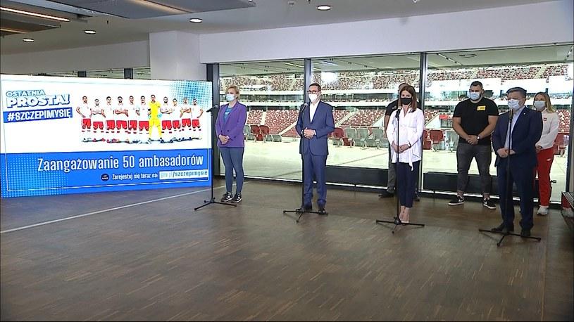 Konferencja prasowa na PGE Narodowym w sprawie kampanii zachęcającej do szczepień /Polsat News /Polsat News
