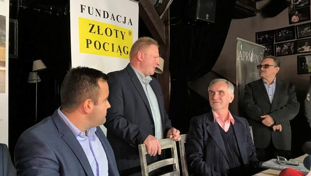 """Konferencja prasowa poszukiwaczy """"złotego pociągu"""" /Bartłomiej Paulus /RMF FM"""