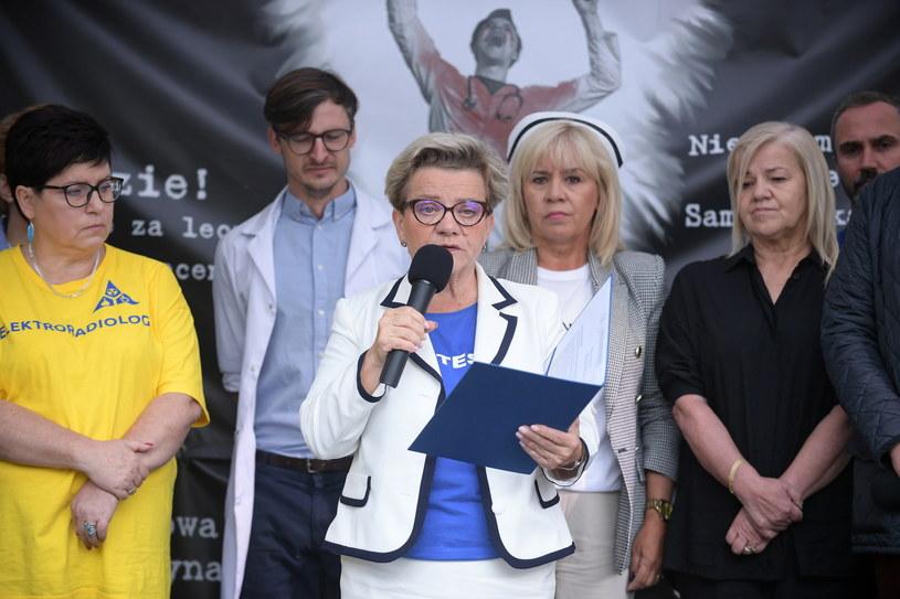"""Konferencja prasowa w """"białym miasteczku 2.0"""" /Marcin Obara /PAP"""