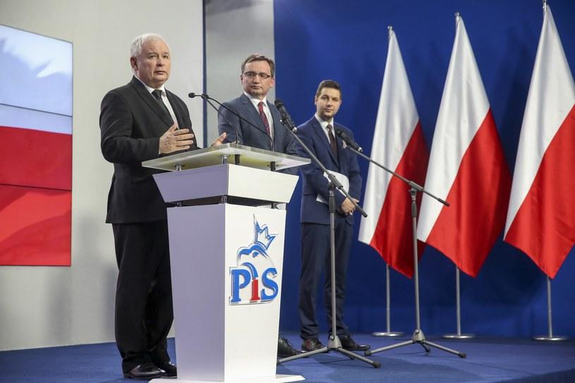 Konferencja prezesa PiS Jarosława Kaczyńskiego /Andrzej Iwańczuk /Reporter