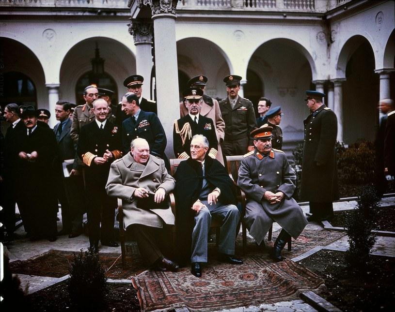 Konferencja w Jałcie. Premier Wielkiej Brytanii Winston Churchill, prezydent USA Franklin Delano Roosevelt i przywódca ZSRR Józef Stalin /Wikimedia