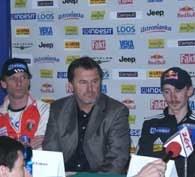 Konferencja w Zakopanem - od lewej: Heinz Kuttin, Edi Federer i Adam Małysz /INTERIA.PL