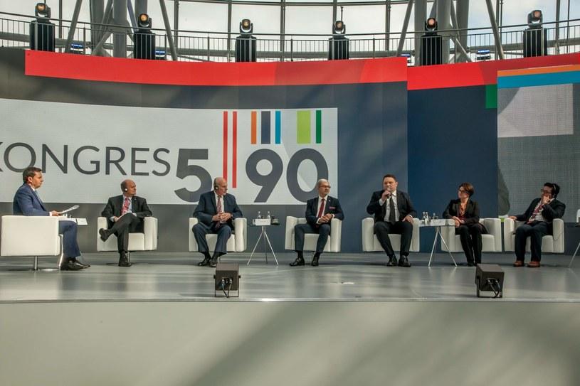 """Kongres 590, debata"""" W poszukiwaniu współczesnych liderów w czasach wyzwań gospodarczych i technologicznej rewolucji"""" , fot. Ireneusz Rek /INTERIA.PL"""