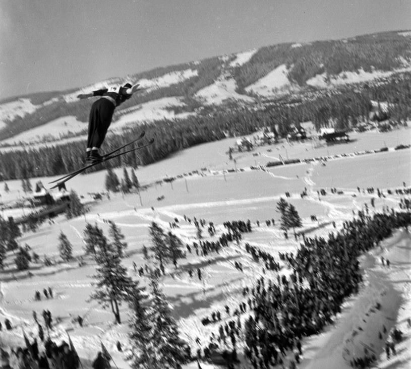Konkurs skoków narciarskich na Wielkiej Krokwi w 1956 roku /Agencja FORUM