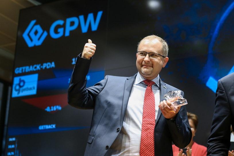 Konrad Kąkolewski, ówczesny prezes GetBack, podczas debiutu na GPW 17 lipca 2017 roku /Marek Wiśniewski /Agencja FORUM