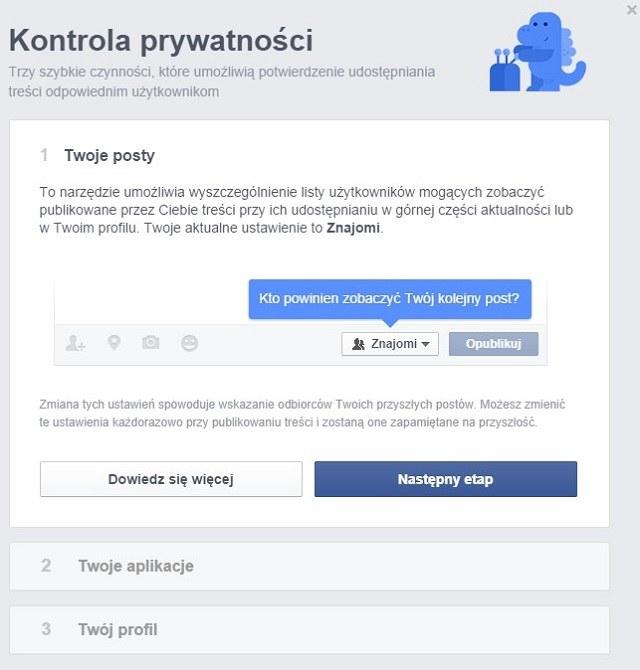 Kontrola prywatności na Facebooku. /materiały prasowe