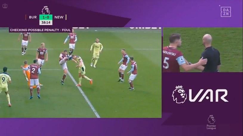 Kontrowersja z meczu Burnley - Newcastle /Informacja prasowa