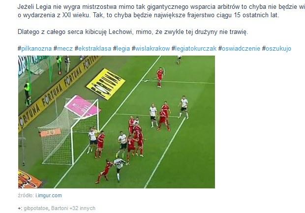 Kontrowersyjna sytuacja z meczu Legia - Wisła. Źródło: wykop.pl /Internet