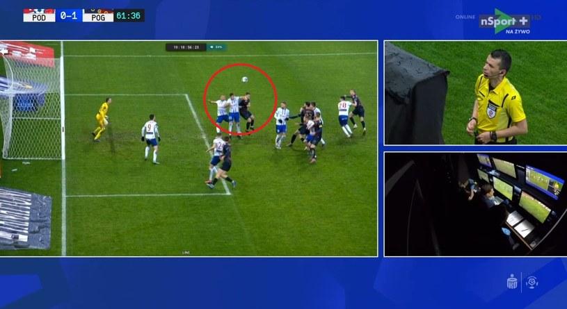 Kontrowersyjny moment w meczu fot. nsport+ /