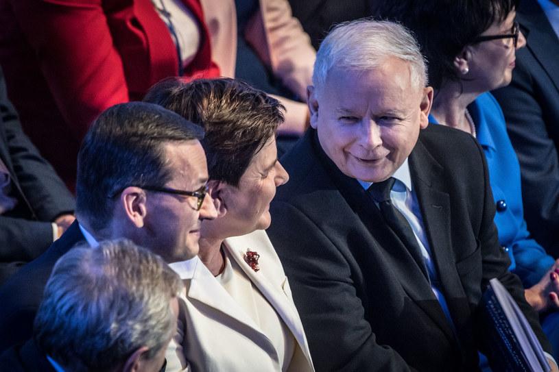 Konwencja PiS: Jarosław Kaczyński, Beata Szydło, Mateusz Morawiecki /Jacek Dominski/ /Reporter