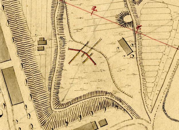 Kopalnia srebra w Srebrnej Górze na mapie górniczej z XIX wieku /Odkrywca