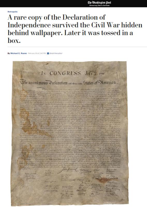 Kopia Deklaracji Niepodległości z lat 20. XIX wieku /washingtonpost.com /