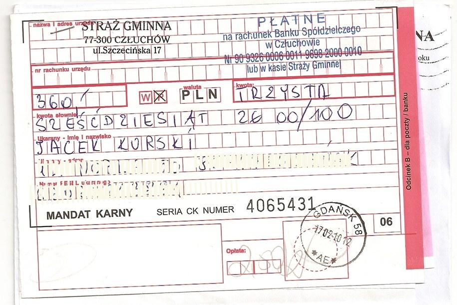 Kopia mandatu Jacka Kurskiego  /RMF FM