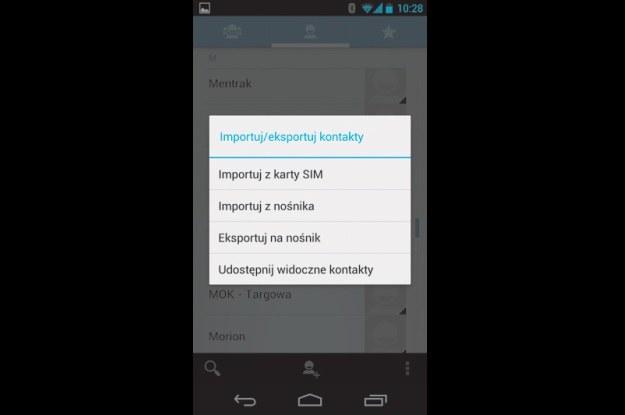 Kopiowanie kontaktów - przejdź do Kontaktów, a potem klawiszem funkcyjnym wywołaj menu podręczne. Kliknij Importuj/Eksportuj, a potem Importuj z karty SIM /PC Format