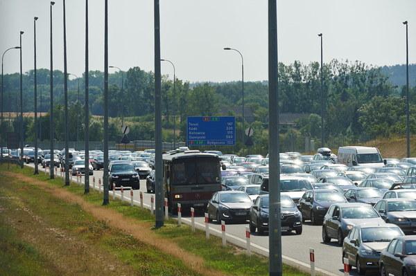 Korek przy zjeździe z autostrady A1 w Rusocinie