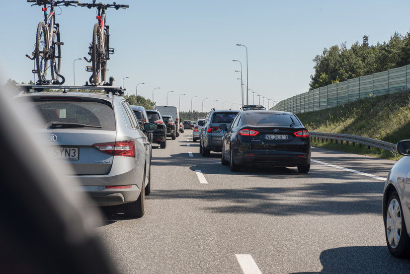Korek na autostradzie A1 /Tadeusz Koniarz /Reporter