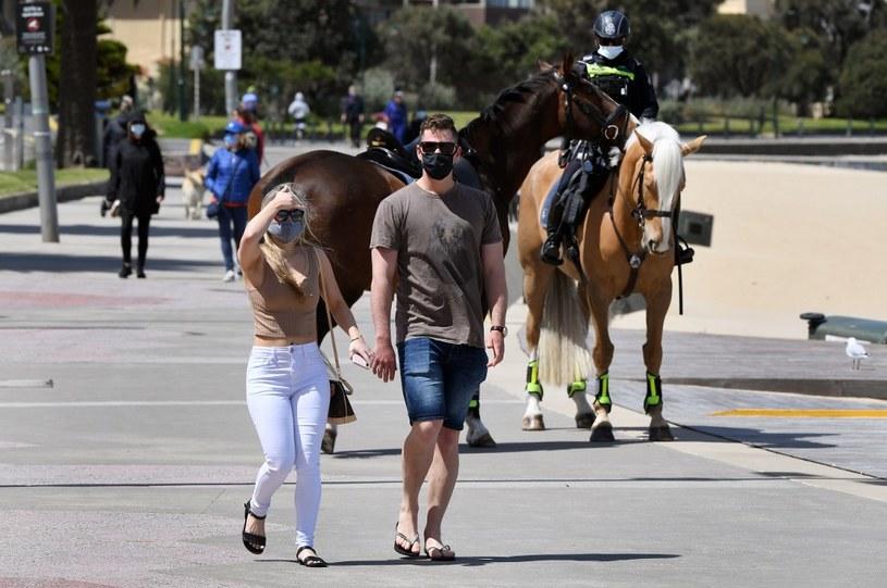 Koronawirus w Australii: Policyjny patrol na ulicach Melbourne /William West /AFP