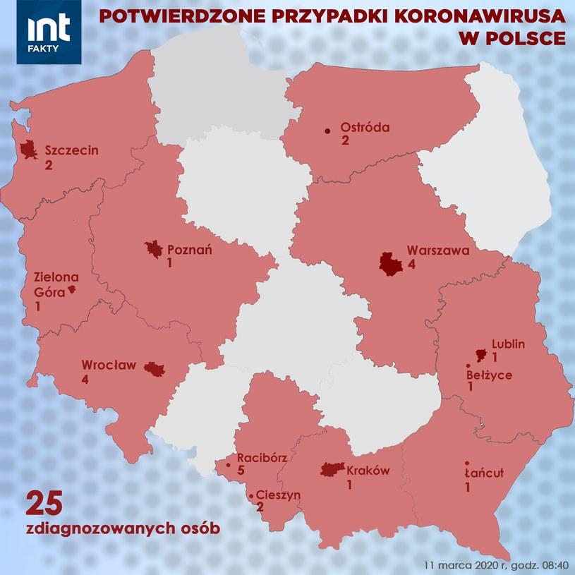 Koronawirus w Polsce: Mapa zakażeń (stan na 11.03 rano) /INTERIA.PL