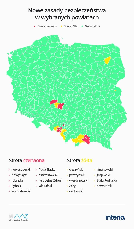 Koronawirus w Polsce. Strefy żółte i czerwone; dane za resortem zdrowia /INTERIA.PL