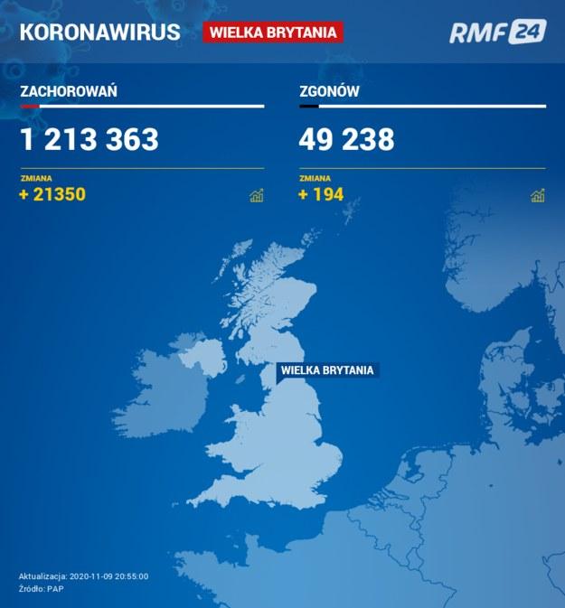 Koronawirus w Wielkiej Brytanii /RMF24