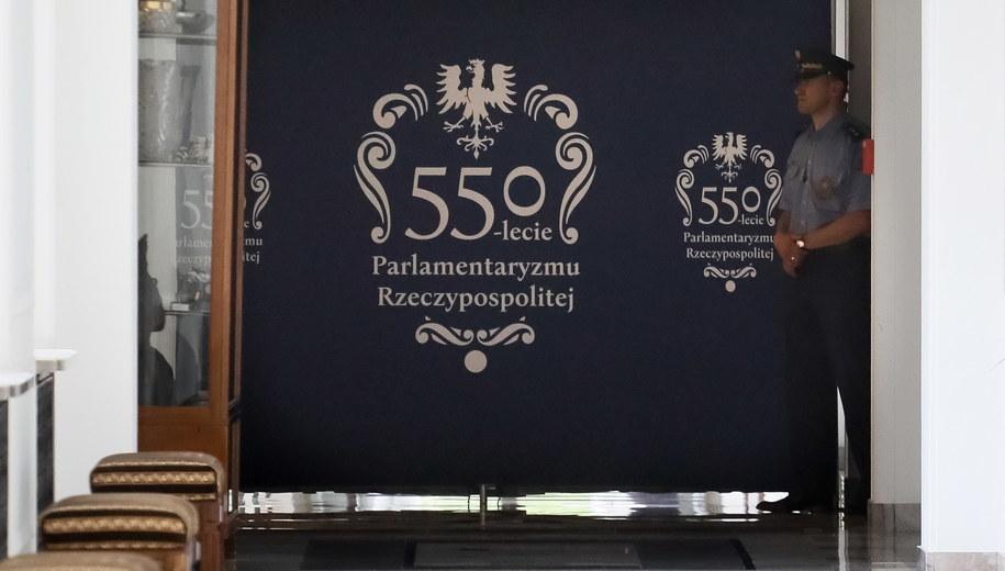 Korytarz prowadzący do gabinetu marszałka Sejmu /Paweł Supernak /PAP