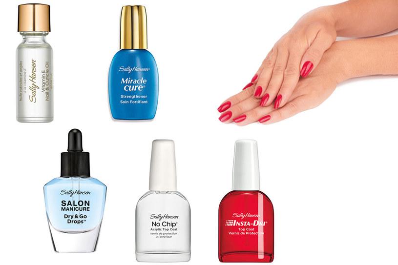 Kosmetyki Sally Hansen: Vitamin E Nail & Cuticle Oil, Dry & Go Drops, Miracle Cure,No Chip Acrylic Top Coat i Insta-Dri /materiały prasowe