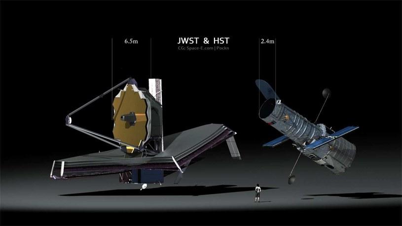 """Kosmiczny Teleskop Jamesa Webba (po lewej) i """"starszy model"""" /materiały prasowe"""