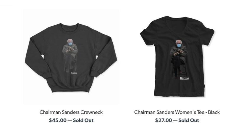 Koszulki i bluzy z amerykańskim senatorem rozeszły się jak świeże bułeczki /fot. store.berniesanders.com /