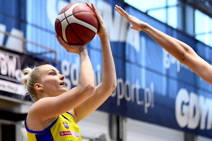 Koszykarka VBW Arki Gdynia Laura Miskiniene /Marcin Gadomski /PAP