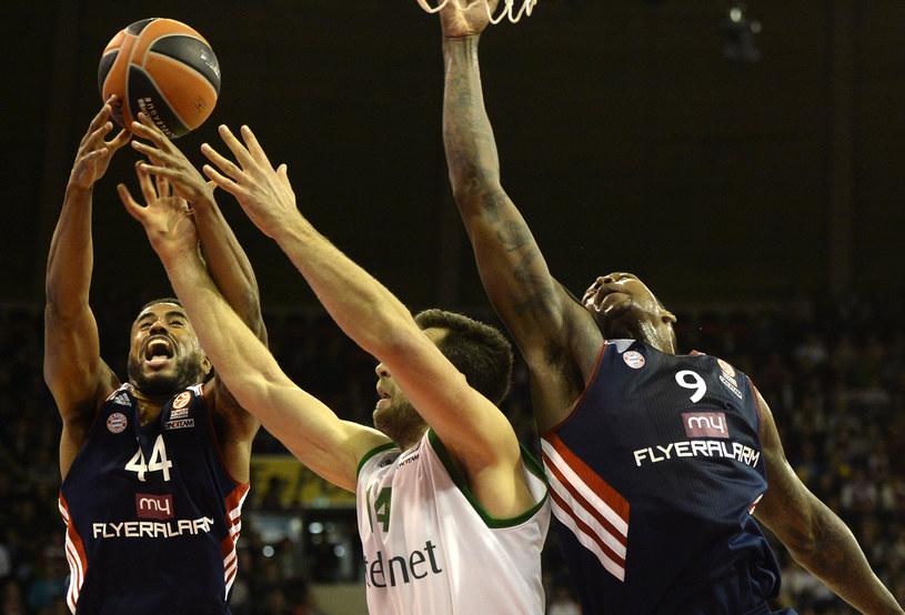 Koszykarz Stelmetu Zielona Góra Adam Hrycaniuk (w środku) /AFP