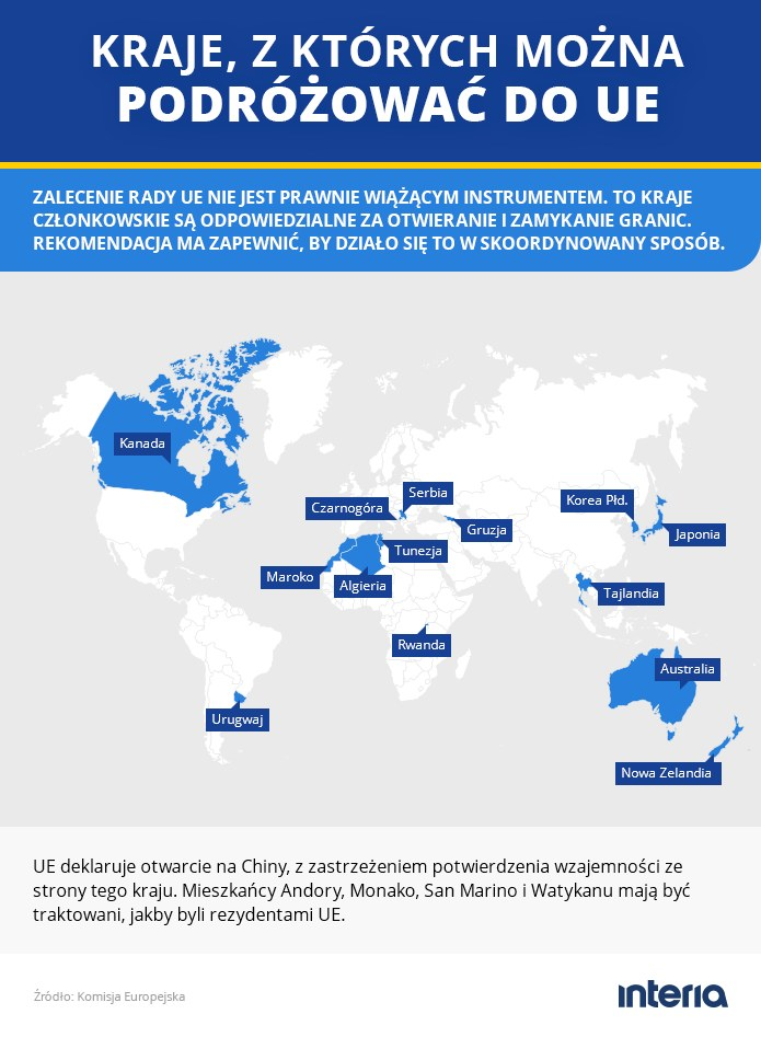 Kraje, z których można podróżować do UE /INTERIA.PL