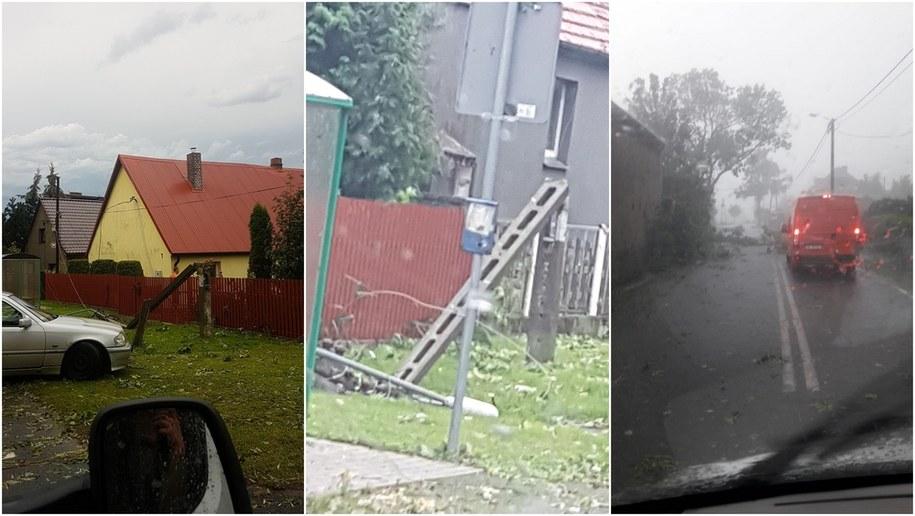 Krajobraz po nawałnicach w okolicy dolnośląskich Kobierzyc /Gorąca Linia RMF FM /