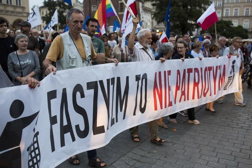Kraków: 1 września KOD protestował przeciwko faszyzmowi /ANDRZEJ BANAS /East News