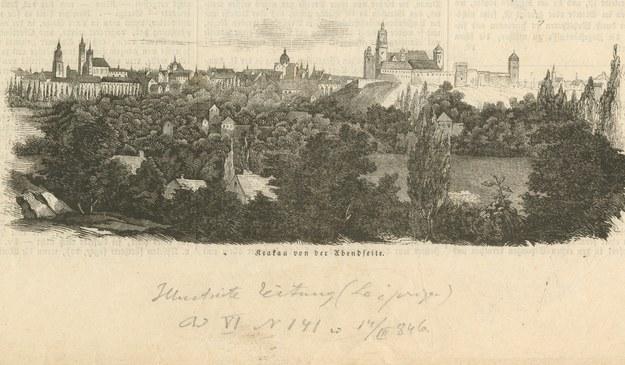 """""""Kraków"""" na łamach """"Ilustrirte Zeitung"""" wydawanej w Lipsku (Nr 141 z dn. 14 marca 1846 r.) /Ze zbiorow Muzeum Historycznego Miasta Krakowa /Agencja FORUM"""