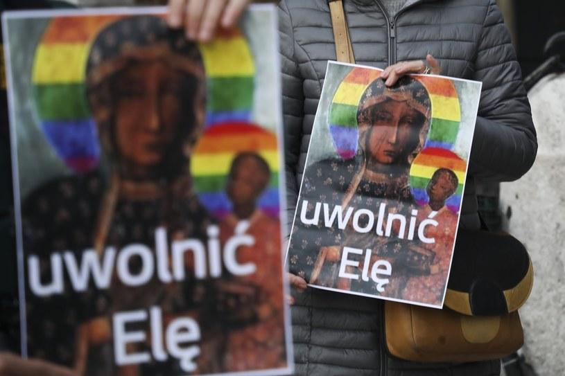 Krakowski protest w obronie Elżbiety Podleśnej /Beata Zawrzel /Reporter