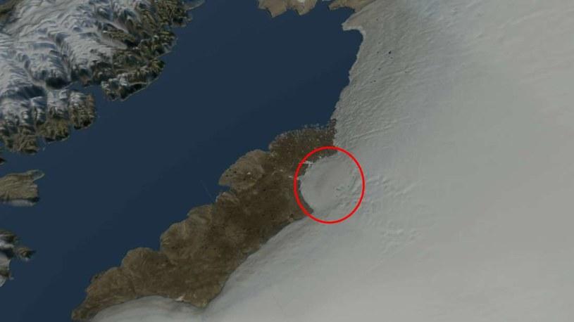 Krater uderzeniowy pod lodowcem Hiawatha /materiały prasowe