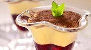Krem z białej czekolady z wiśniową konfiturą