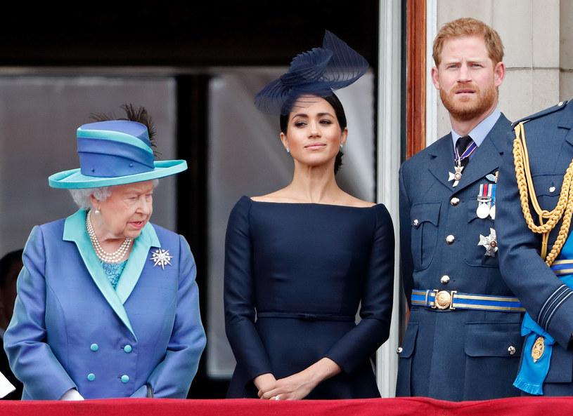 Królowa Elżbieta II, Meghan Markle i Harry /Max Mumbly /Getty Images