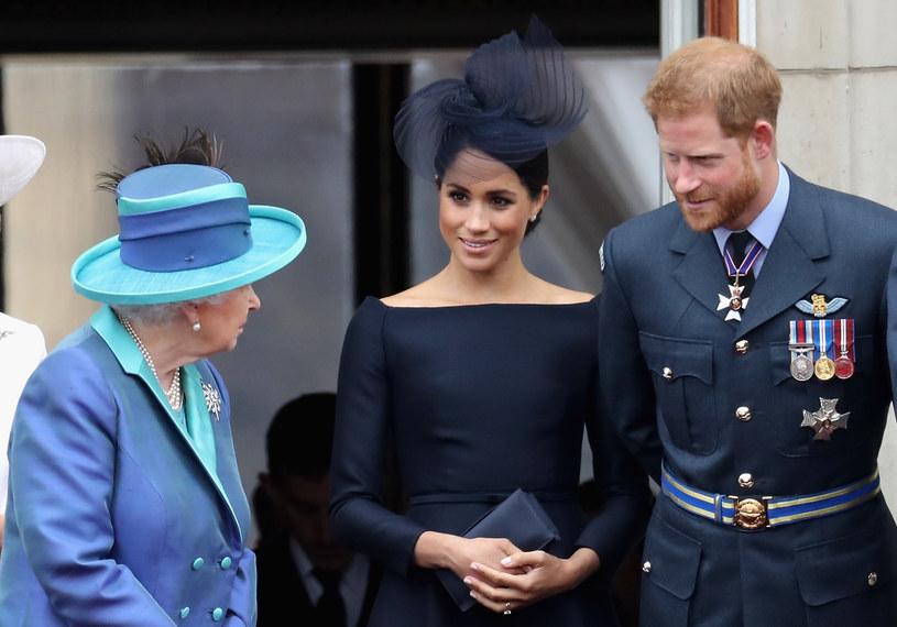 Królowa Elżbieta II, Meghan Markle i książę Harry /Chris Jackson /Getty Images