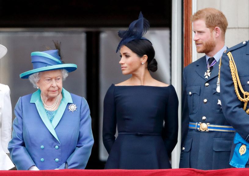 Królowa Elżbieta II, Meghan Markle i książę Harry /Max Mumby/Indigo /Getty Images