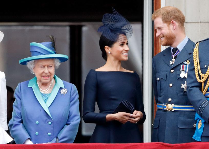 Królowa Elżbieta II, Meghan Markle i książę Harry /Max Mumbly /Getty Images