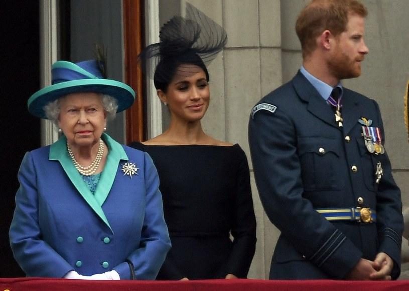 Królowa Elżbieta II, Meghan Markle i książę Harry /Anwar Hussein / Contributor /Getty Images
