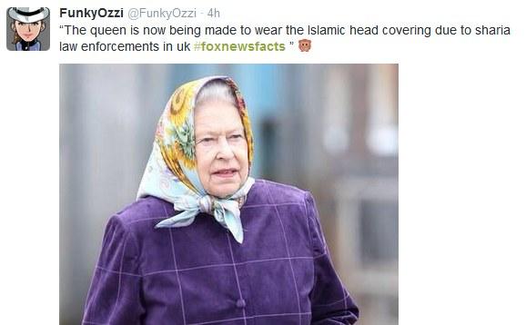 """""""Królowa musi nosić nikab w związku z prawem szariatu, które zostało wprowadzone na terenie Wielkiej Brytanii"""" /"""