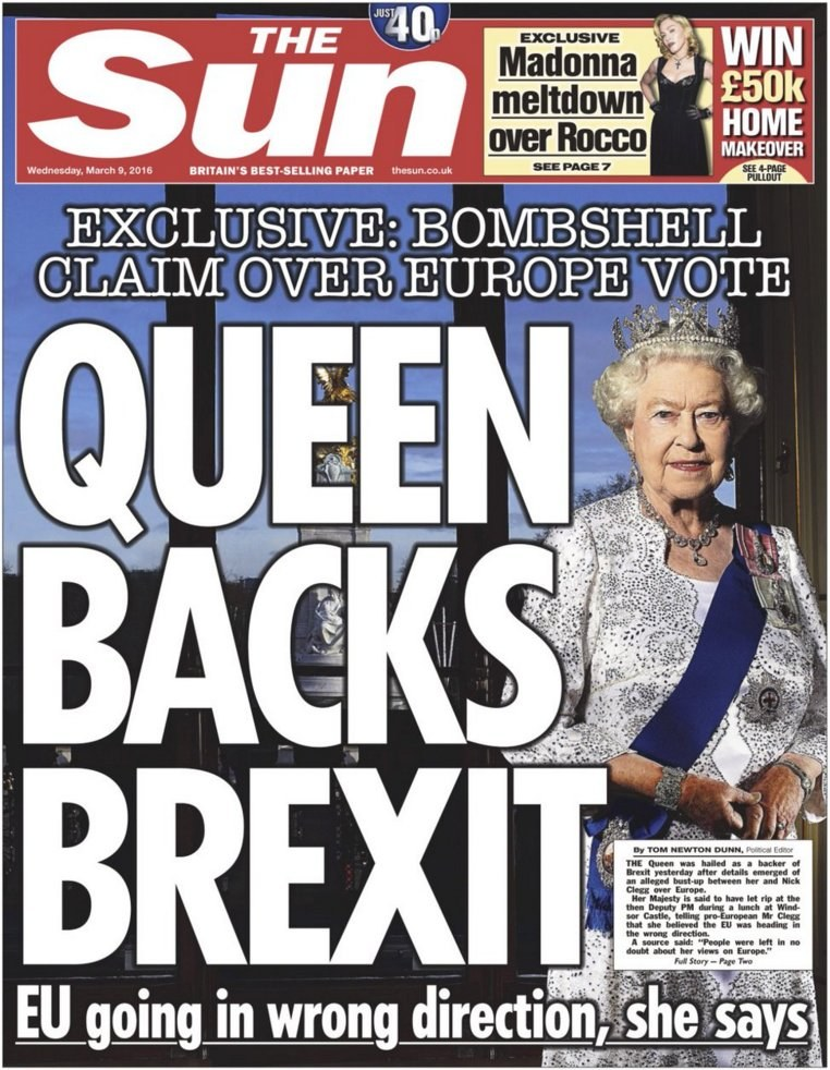"""Królowa popiera Brexit"" - podaje tabloid /The Sun"