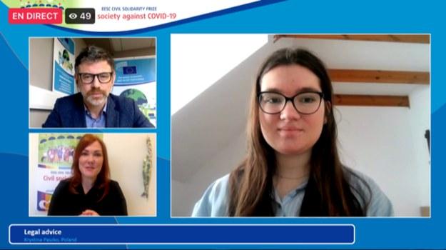 Krystyna Paszko oraz wiceprzewodniczący EKES ds. komunikacji Cillian Lohan i moderatorka, dziennikarka Jennifer Baker /Materiały prasowe