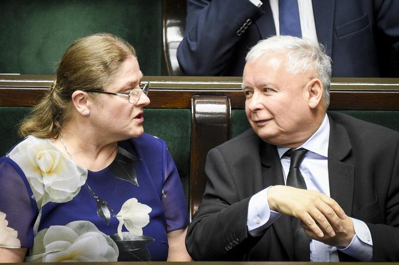 Krystyna Pawłowicz i Jarosław Kaczyński /Jacek Dominski/