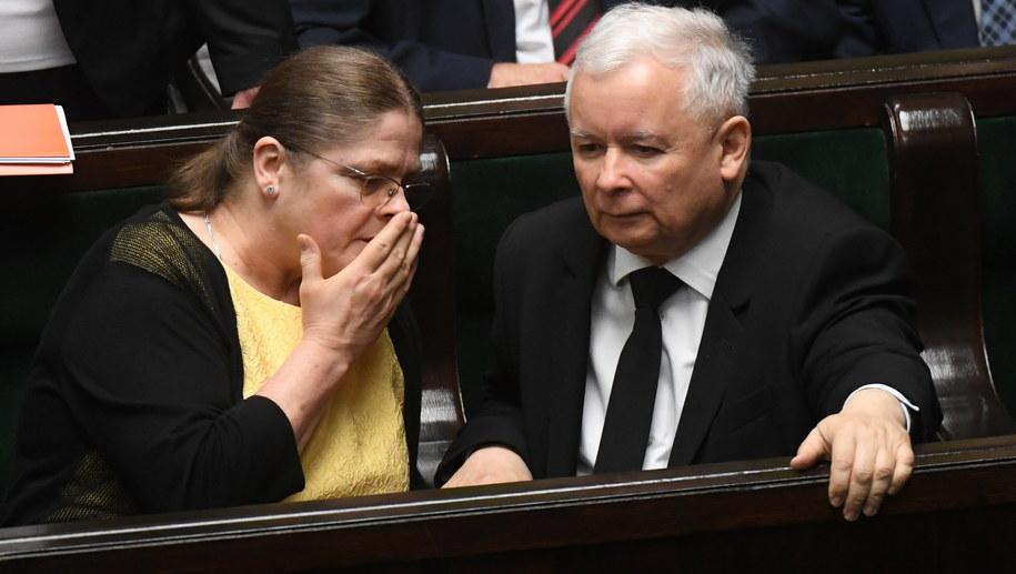 Krystyna Pawłowicz i Jarosław Kaczyński /Bartłomej Zborowski /PAP