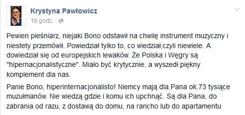 Krystyna Pawłowicz na Facebooku odpowiada Bono /
