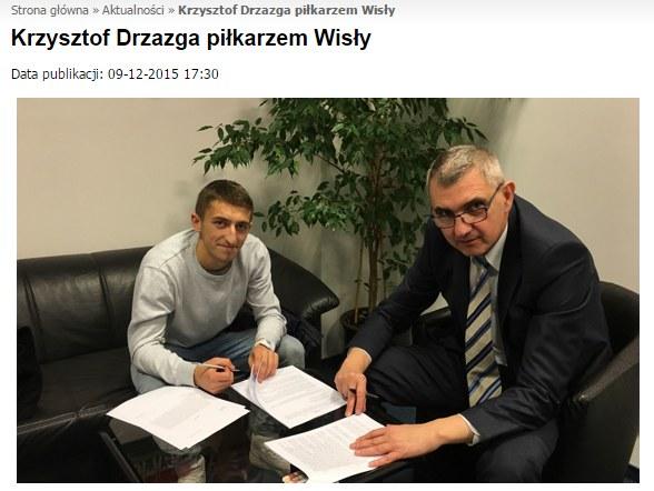 Krzysztof Drzazga (z lewej) i prezes Wisły Robert Gaszyński. Screen ze strony http://www.wisla.krakow.pl/ /INTERIA.PL