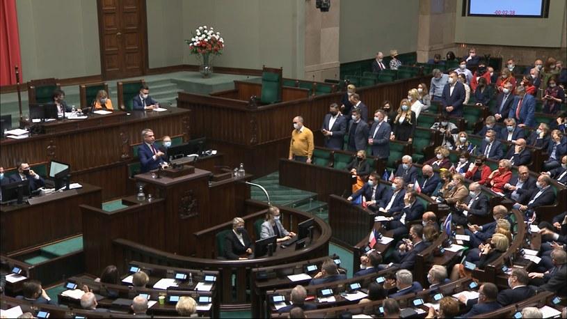 Krzysztof Gawkowski blokował mównicę sejmową /Polsat News